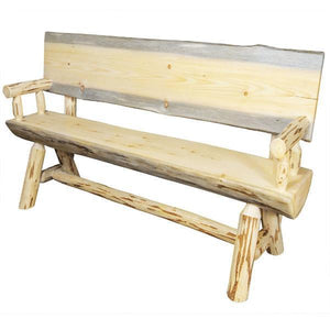 Montana Woodworks Montana Half Log Bench with Back & Arms Garden Benches 4ft