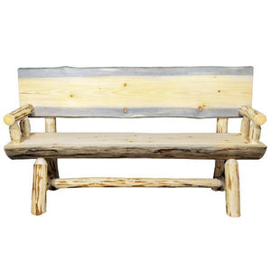 Montana Woodworks Montana Half Log Bench with Back & Arms Garden Benches 5ft