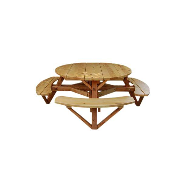 Moon Valley 56 in. Round Picnic Table Set Picnic Table Unfinished