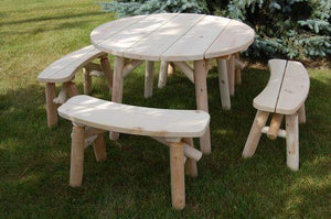Moon Valley M1300 46 in. Round Table Set Picnic Table Unfinished