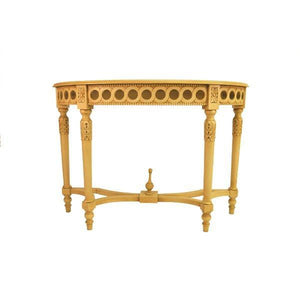 Neoclassical Demilune Console With Crackle Finish Table Top