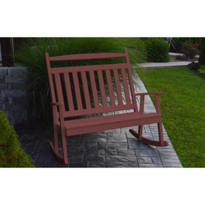 A & L Furniture Poly Classic Double Rocker Cherrywood