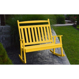 A & L Furniture Poly Classic Double Rocker Lemon-Yellow