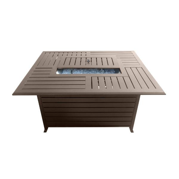 Rectangular Slatted Aluminum Fire Pit With Stainless Steel Propane Burner Fire Pits