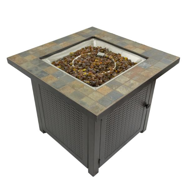 Square Slate Tile Top Fire Pit Fire Pits