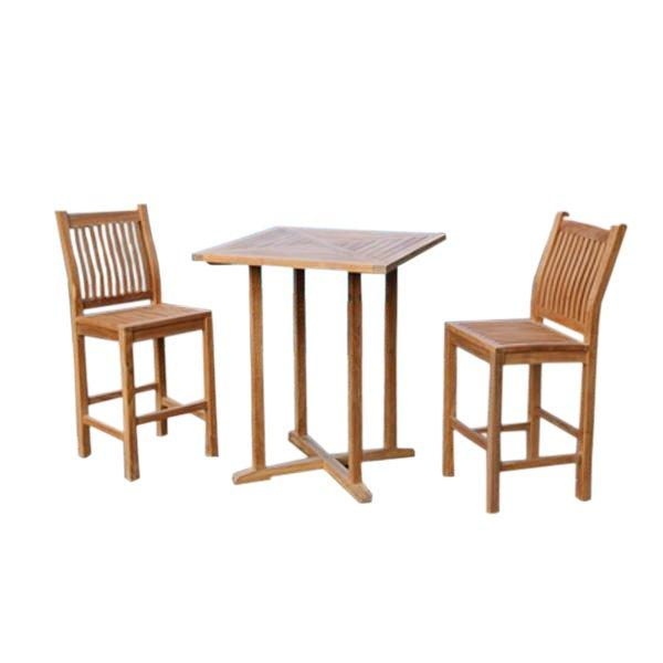 Teak 3Pc Bar Set