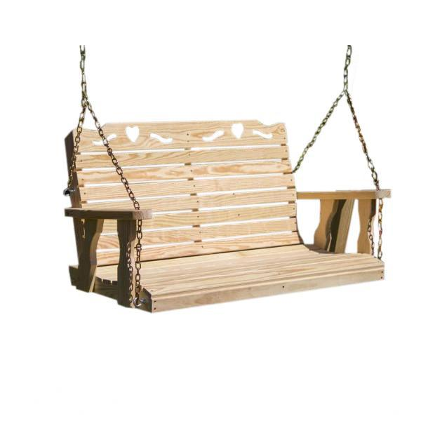 Treated Pine Crossback with Heart Porch Swing Porch Swing