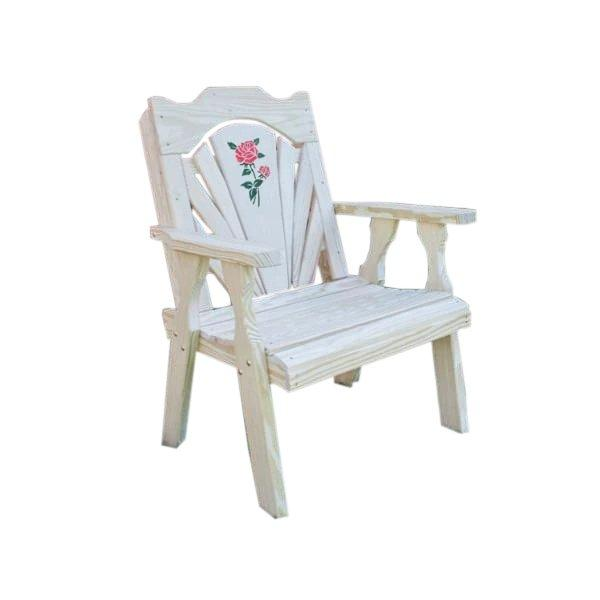Treated Pine Fanback Patio Chair w/Rose Design