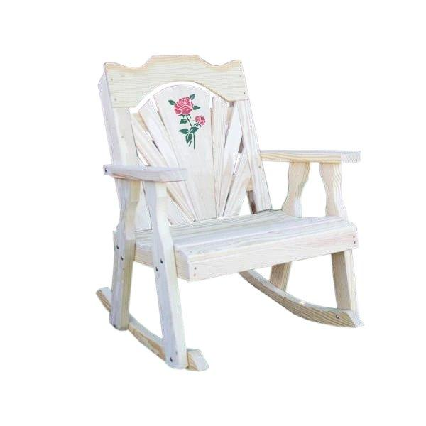 Treated Pine Fanback Rocking Chair w/Rose Design