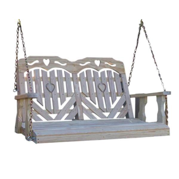 Treated Pine Heartback Porch Swing with Hearts and Scroll Porch Swing
