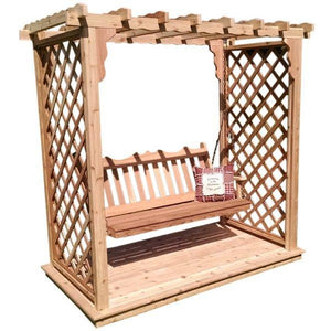 Western Red Cedar Covington Arbor with Deck & Swing Porch Swing