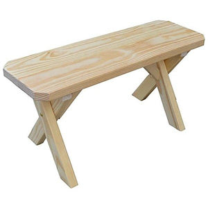 Yellow Pine Picnic Crossleg Bench