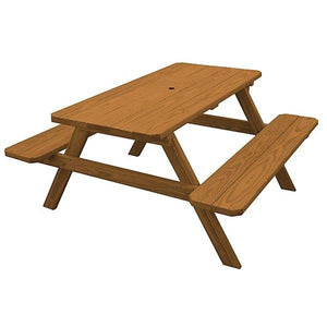 Yellow Pine Picnic Table with Attached Benches