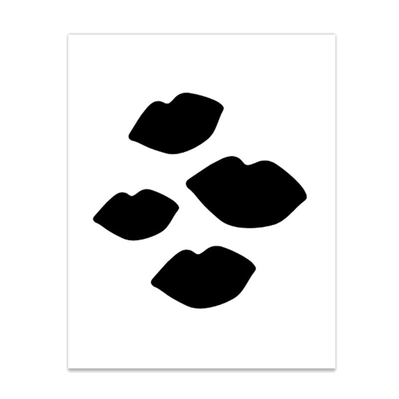"""Bombshell Kisses"" Black and White Lip Print Poster 16x20"