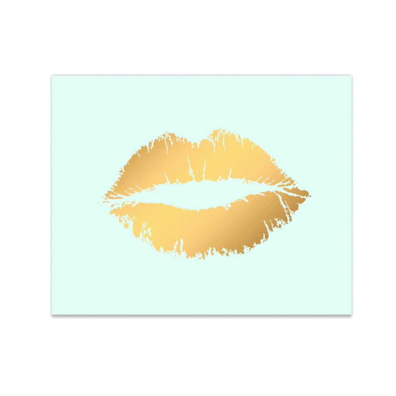 """Lippy Lippy"" Mint and Gold Foil Lip Kiss Print"