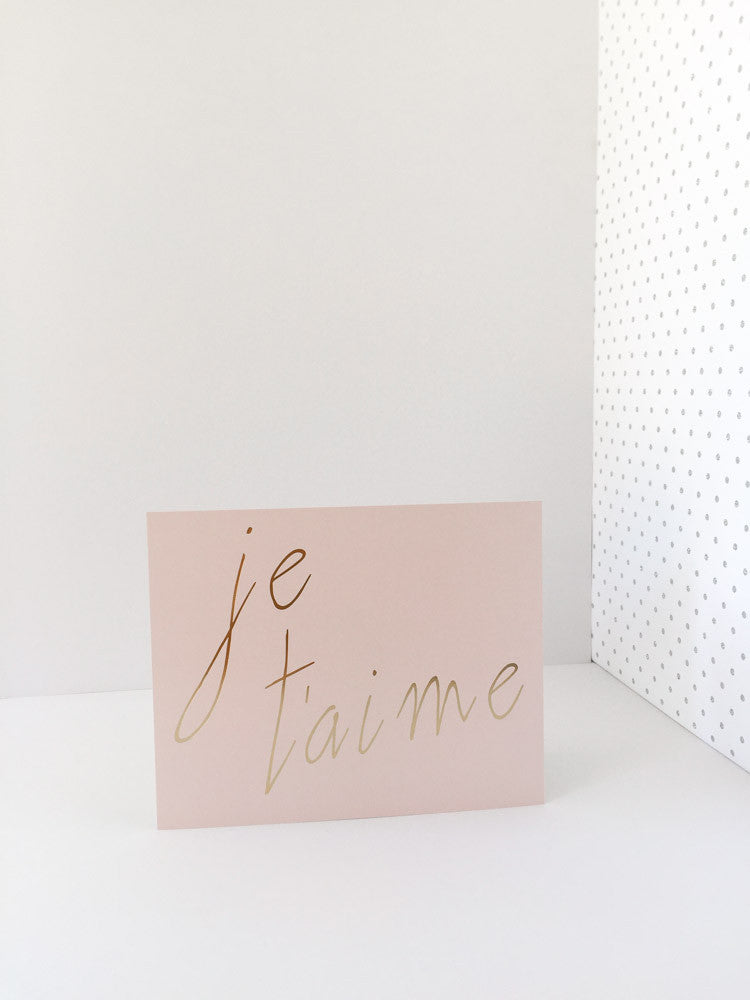 """Je T'aime"" Blush and Gold Foil Print"