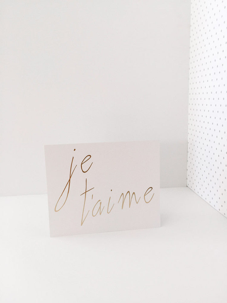 """Je T'aime"" White and Gold Foil Print"