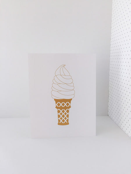 """Ice Cream Gold"" Ice Cream Cone Gold Metallic Ink Poster Print 11x14"