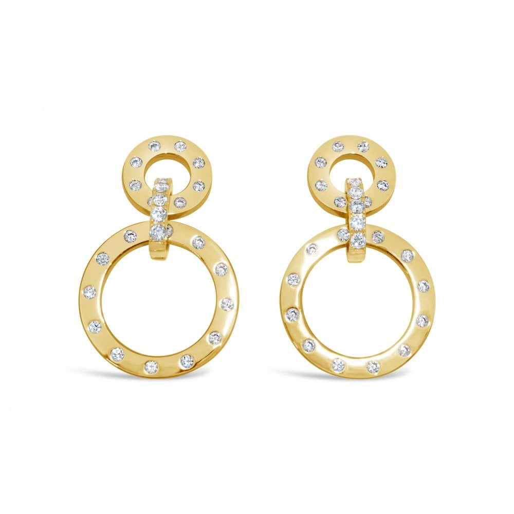 Neha - Swarovski Circles Gold Earrings