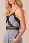 Lace maxi dress open back- gray.
