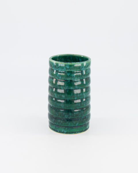 Green ribbed vase