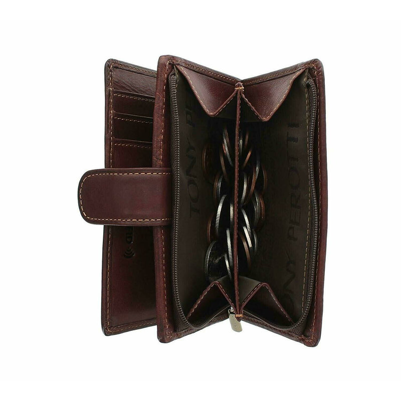 Tony Perotti Full Grain Leather Purse With Tab Closure (Brown) - Simply Magnificent LTD