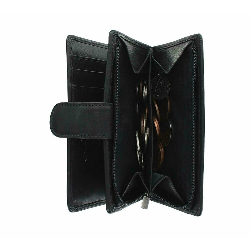 Tony Perotti Full Grain Leather Purse With Tab Closure (Black) - Simply Magnificent LTD