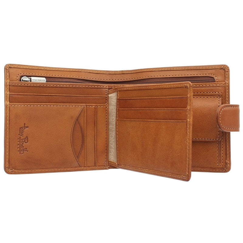 Tony Perotti Italian Leather Wallet  with Coin Pocket (Tan) - Simply Magnificent LTD