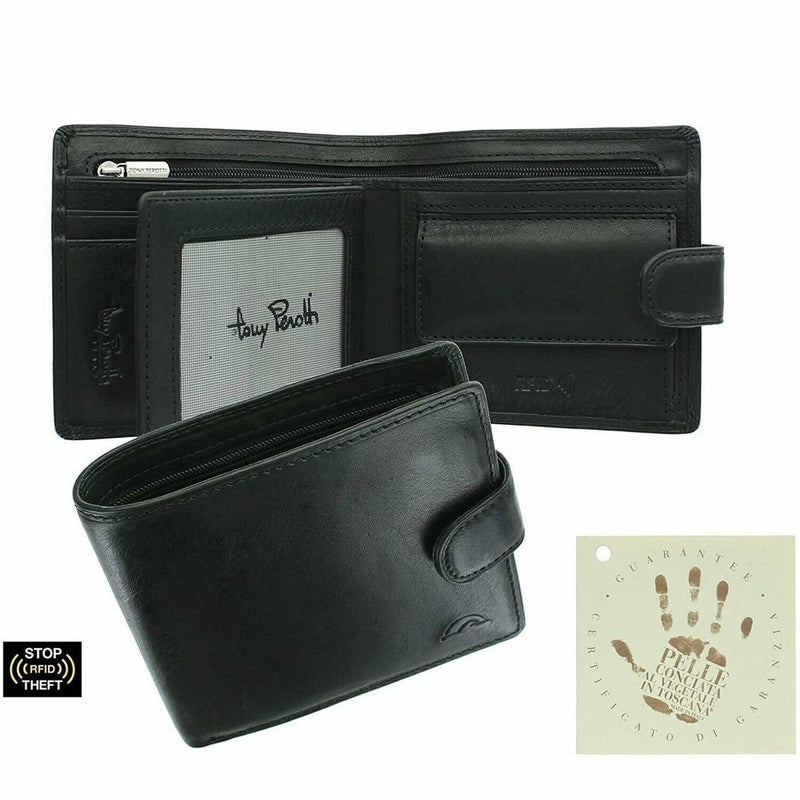Tony Perotti Italian Leather Wallet  with Coin Pocket (Black) - Simply Magnificent LTD