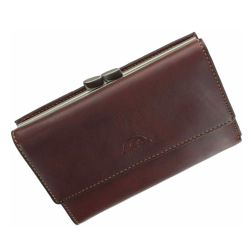Tony Perotti Italian Leather Clip-Top Frame Purse (Brown) - Simply Magnificent LTD
