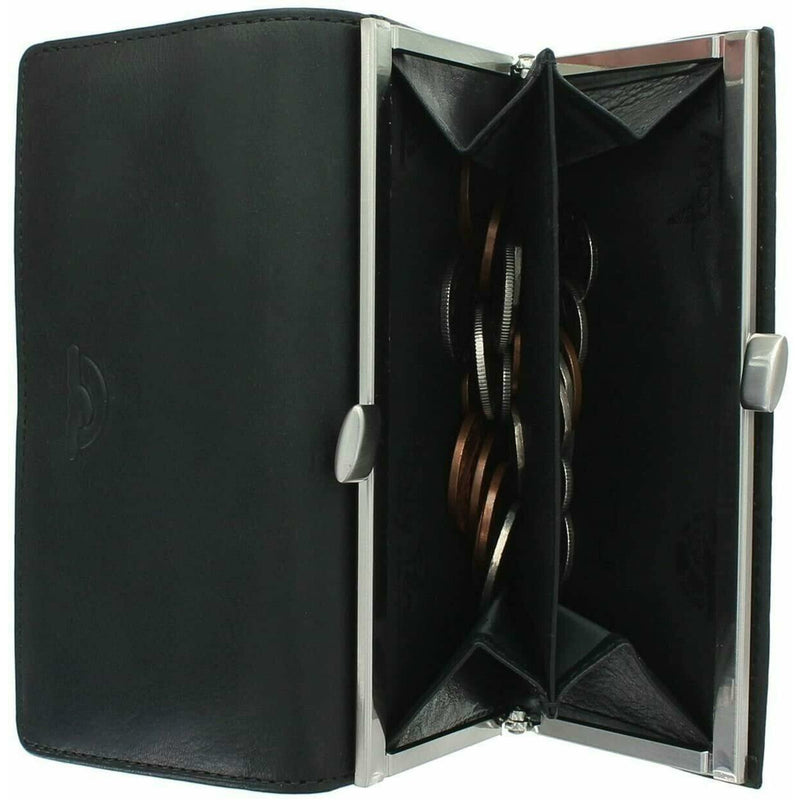 Tony Perotti Italian Leather Clip-Top Frame Purse (Black) - Simply Magnificent LTD