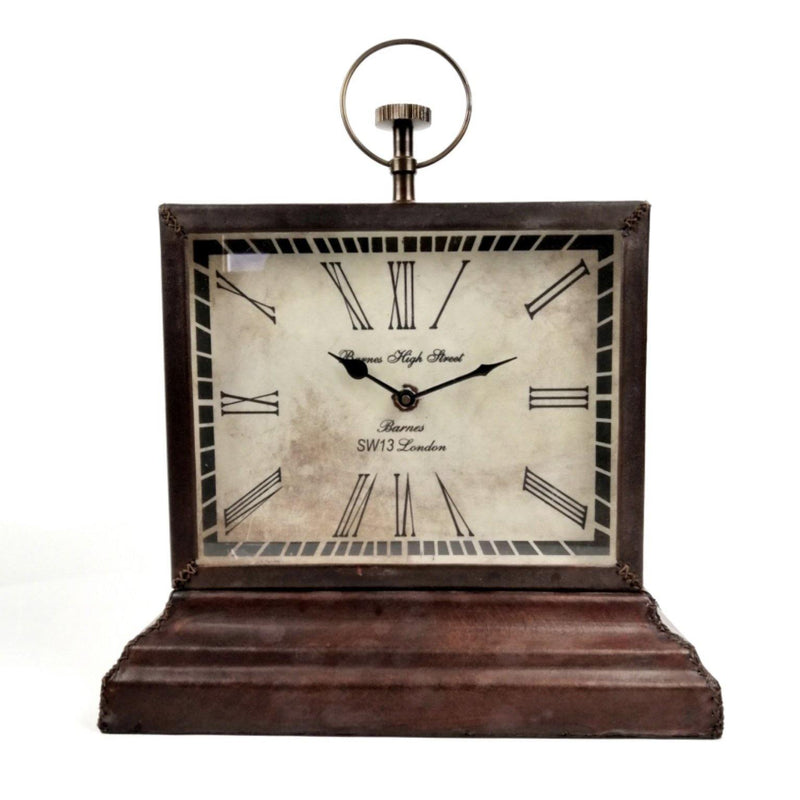 Barnes High Street Small Leather Mantle Clock Front view