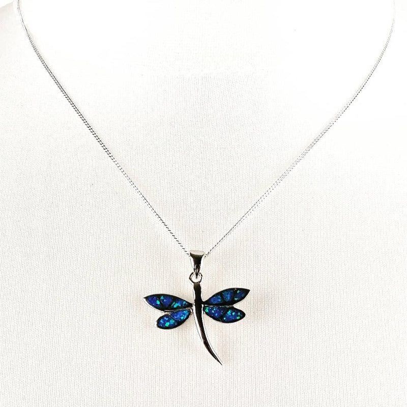 Blue Opal dragonfly necklace front view