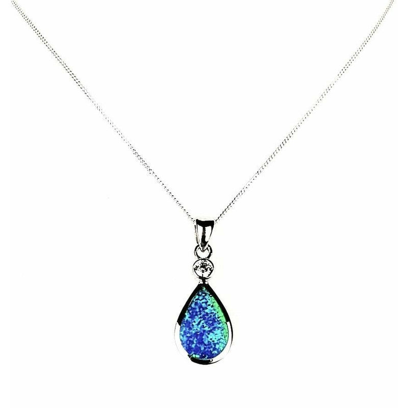 Blue Opal Teardrop necklace front view