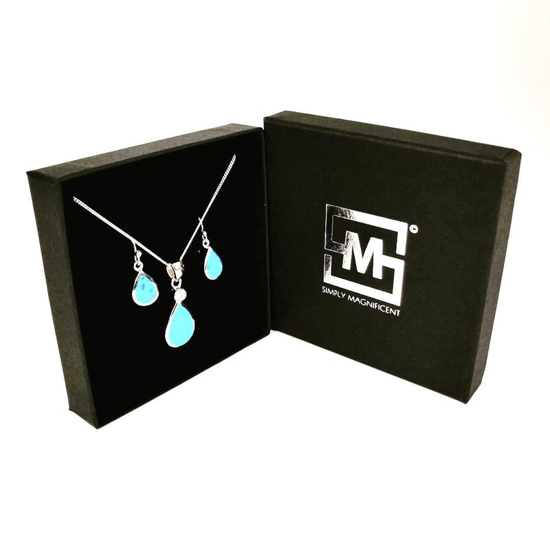 Blue Opal teardrop set in Simply Magnificent gift box