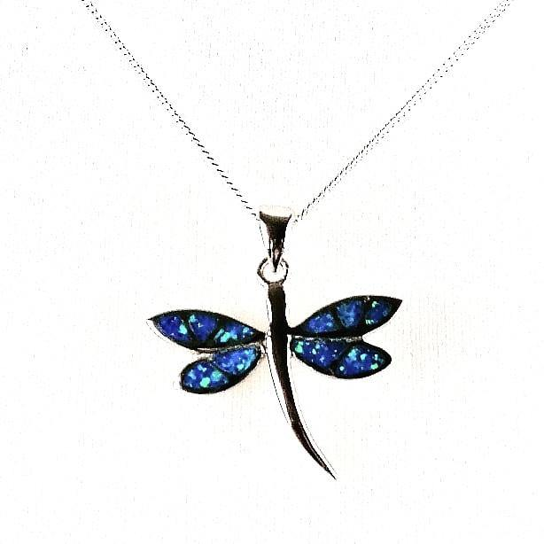 Blue Opal dragonfly pendant and chain front view