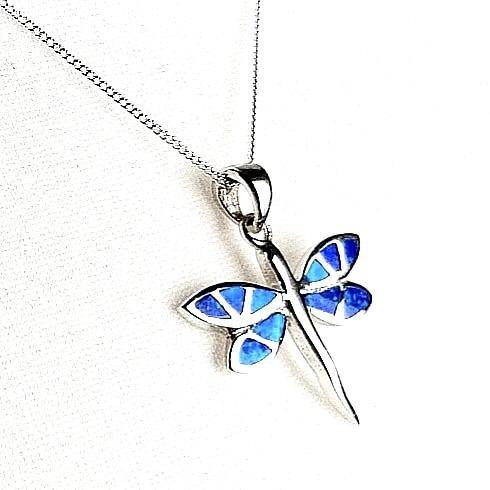Blue Opal dragonfly pendant and chain side view