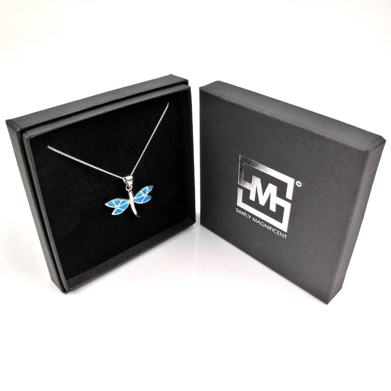 Blue Opal Dragonfly necklace in gift box