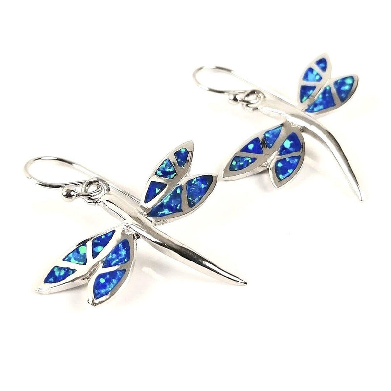 Blue Opal dragonfly earrings