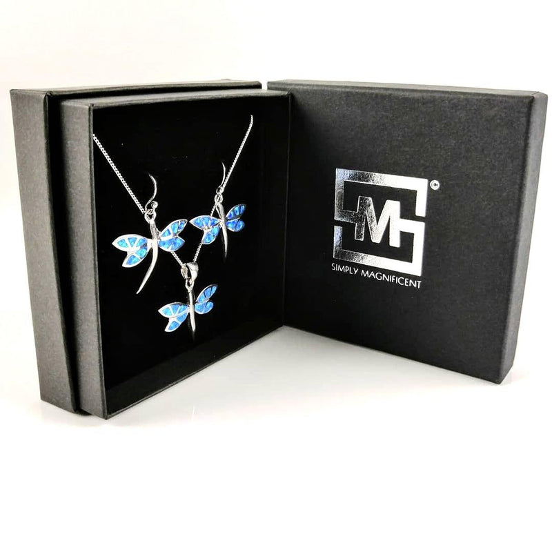 Blue Opal Dragonfly Pendant and Earrings - (Gift Set) - Simply Magnificent LTD