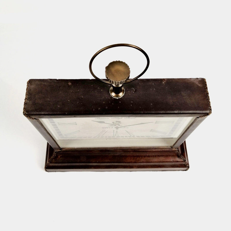 Barnes High Street Small Leather Mantle Clock Top View