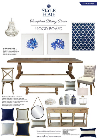 Hamptons Dining Room Mood Board by Style My Home Australia