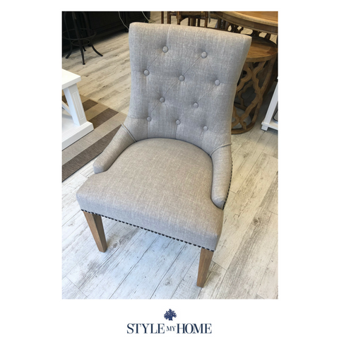 Upholstered linen dining or occasional chair by Style My Home Australia, Oak and linen Hamptons