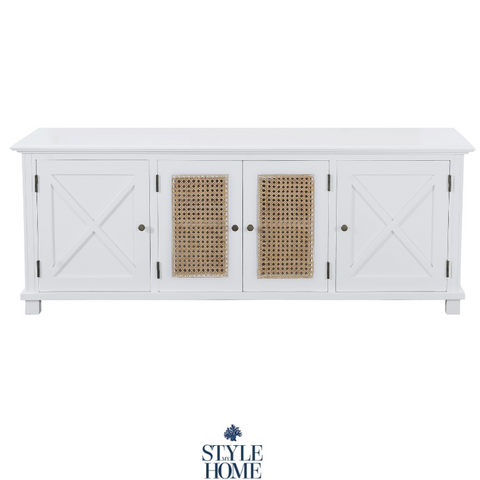 'PALM COVE' Entertainment Unit with Natural Rattan Doors
