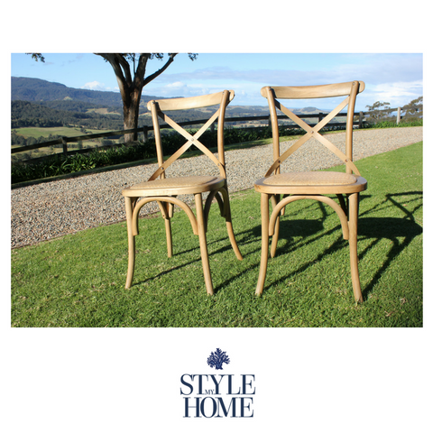 'DAVID' Cross-back Chair with Rattan Seat