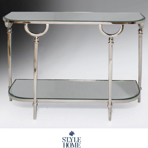 'BROOKLYN' Nickel Two Tiered Console Table