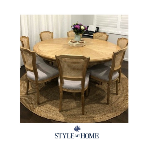 CHLOE natural oak Coastal Pedestal 6 Seat Table by Style My Home Australia Sydney Hamptons Country Coastal