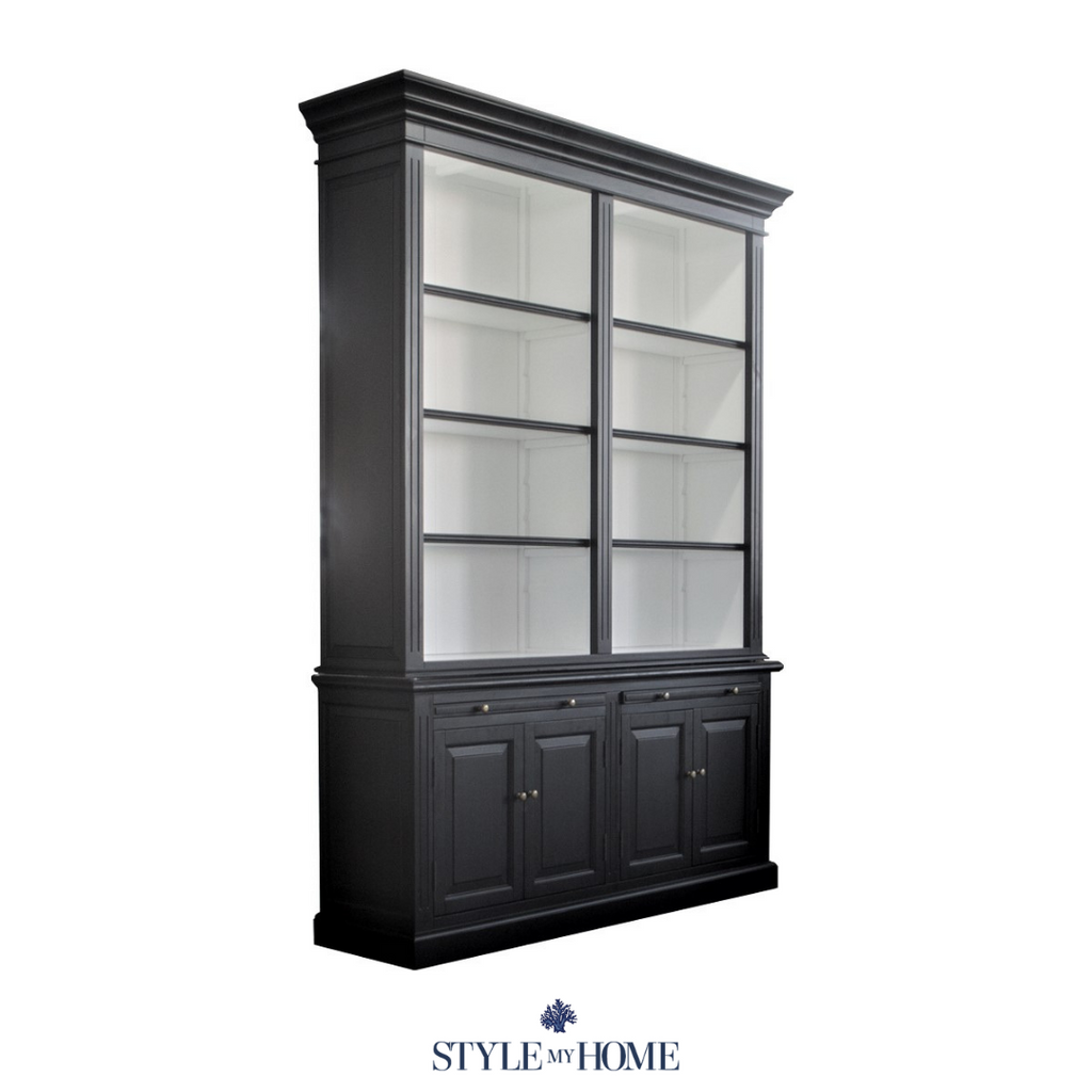 HAMPTONS BOOKCASE LIBRARY SATIN BLACK SATIN WHITE
