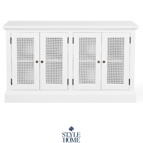 'WHITEHAVEN' Coastal Buffet with Painted White Rattan Doors