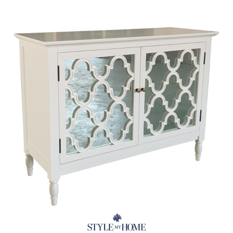 White buffet with mirror door detailing